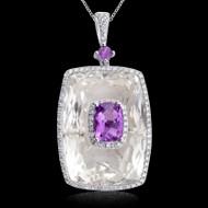 Diamond, Amethyst  & Rock Crystal Rectangle Pendant