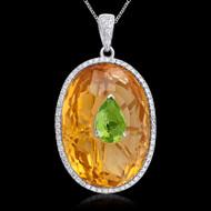 Diamond, Citrine, Peridot Oval Necklace