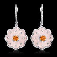 Diamond, Rose Quartz, Citrine Earrings