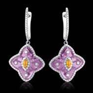 Diamond, Amethyst, Citrine Star Earrings