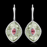 Diamond and Green Amethyst, & Pink Topaz Earrings