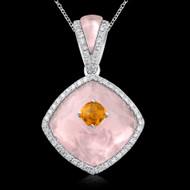Diamond, Rose Quartz & Citrine Necklace