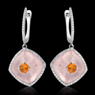 Diamond, Rose Quartz & Citrine Earring