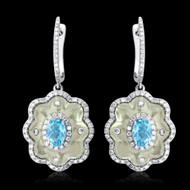 Diamond and Green Amethyst, & Blue Topaz Earrings