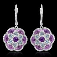 Diamond, Amethyst, & Blue Topaz Earrings