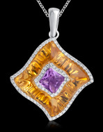 Diamond, Citrine, & Amethyst Necklace