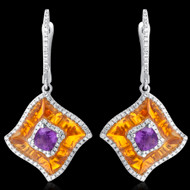 Diamond, Citrine, & Amethyst Earrings