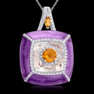 Diamond, Amethyst, & Citrine Necklace