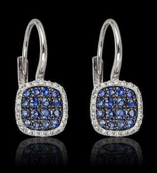 Sapphire and Diamond Square Earring