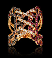 """Just Because"" Corsette Diamond and Ruby Ring Couture"