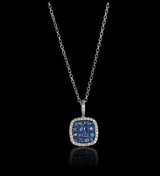 Sapphire and Diamond square necklace