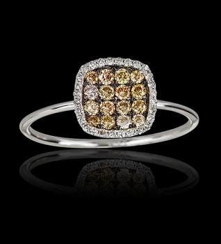 Square Diamond and Champagne Ring