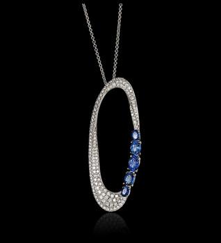 """Bubbles"" Sapphire Oval Necklace"