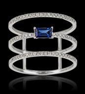 Diamond Sapphire 3 Rung Ring