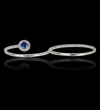"""Just Because"" Overlay Two Finger Diamond and Sapphire Ring"