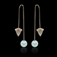 """Just Because"" Pearl Spear-Tip Slide Diamond Earrings"