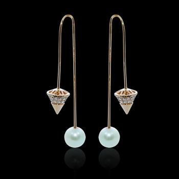 """""""Just Because"""" Pearl Spear-Tip Slide Diamond Earrings"""