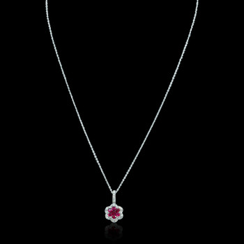 """Just Because"" Ruby Flower Diamond Lined Necklace"