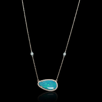 """Just Because"" Diamond & Blue Opal Pendant"