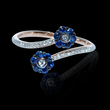 """Just Because"" Blue Sapphire Flower Tip Open Ring"