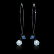 Slip and Slide Pearl and Sapphire Earrings