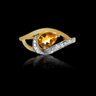 Northern Lights Citrine and Diamond Ring
