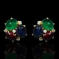 Sapphire, Emerald, Ruby and Diamond Stud Earrings