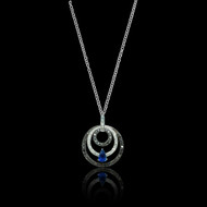 Sapphire Diamond and Black Diamond 18K Necklace