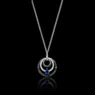Sapphire Diamond and Black Diamond 18K Necklace