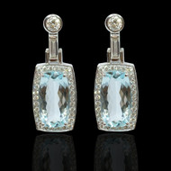 Aqua Marine and Diamond Manhattan Earrings
