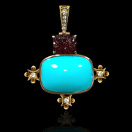 Carved Ruby, Turquoise and Diamond Necklace