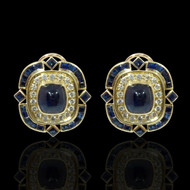 Sapphire Cabochon and Sapphire Earrings