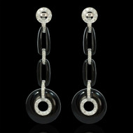 Diamond and Onyx Chandelier Earrings
