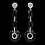 Diamond and Onyx Chandelier Earrings