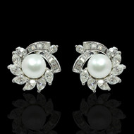 Eternally Beautiful Diamond and Pearl Starburst Earrings