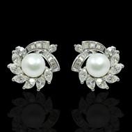 Eternally Beautiful Diamond and Pearl Starburst Earrings