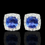 Diamond and Tanzanite Cushion Shaped Earrings