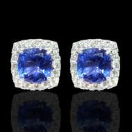 Diamond and Tanzanite Cushion Shaped Earrings