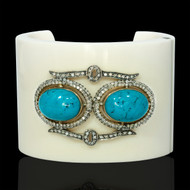 Water Meets the Sky Diamond & Turquoise Cuff