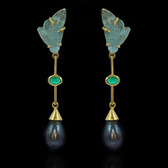 AquaMarine , Emerald & Pearl Earrings