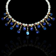 Water & Light Diamond, Pearl, Ruby & Tanzanite Necklace