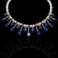 Water & Light Diamond, Pearl, Ruby & Tanzanite Necklace