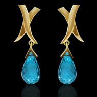 Hugs Do Wonders Blue Topaz Drop Earrings