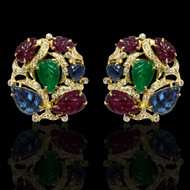 Ruby Sapphire Emerald Trinity Diamond Earrings