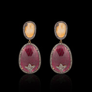 Beige and Maroon Multi Sapphire 2 Tier Earring
