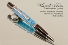 Larimar Denim Blue TruStone Ballpoint Pen Black/Chrome