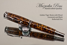 Golden Tiger Resin & Wood Rollerball
