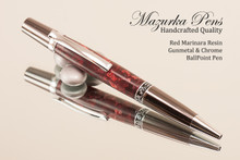 Handcrafted Red Marinara Resin Ballpoint Pen with Gunmetal / Chrome finish.