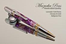 Purple Lavender Gold Resin Ballpoint Pen