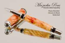 Hand Made Rollerball Pen made from Flame Boxelder with Chrome finish with Black trim.  Main view of pen and cap.